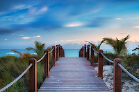 Pathway to ocean. Turks and Caicos. Providenciales.