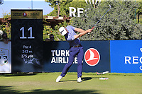 Paul Waring (ENG) tees off the 11th tee during Friday's Round 2 of the 2018 Turkish Airlines Open hosted by Regnum Carya Golf &amp; Spa Resort, Antalya, Turkey. 2nd November 2018.<br /> Picture: Eoin Clarke | Golffile<br /> <br /> <br /> All photos usage must carry mandatory copyright credit (&copy; Golffile | Eoin Clarke)