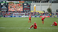 Portland, Oregon - Sunday October 2, 2016: The Portland Thorns react at the end of the match during a semi final match of the National Women's Soccer League (NWSL) at Providence Park.