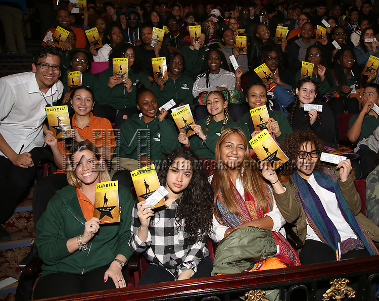 """Students attend The Rockefeller Foundation and The Gilder Lehrman Institute of American History sponsored High School student #EduHam matinee performance of """"Hamilton"""" at the Richard Rodgers Theatre on 3/29/2017 in New York City."""