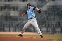 Starting pitcher Ricky Vanasco (13) of the Hickory Crawdads delivers a pitch in a game against the Columbia Fireflies on Tuesday, August 27, 2019, at Segra Park in Columbia, South Carolina. Columbia won, 3-2. (Tom Priddy/Four Seam Images)