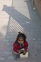 Child begging on the streets, Kathmandu, Nepal