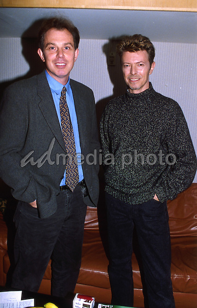 Exclusive Photo Must Be Credited ©Alpha Press 020768  19/11/1995 Tony Blair and David Bowie at the David Bowie Concert After Party at Wembley, London. Photo Credit: Alpha Press/AdMedia