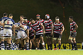 The Steelers forward pack prepare to set a scrum during the Mitre 10 Cup rugby game between Counties Manukau Steelers and Auckland played at ECOLight Stadium, Pukekohe on Saturday August 19th 2017. Counties Manukau Stelers won the game 16 - 14 and retain the Dan Bryant Memorial trophy.<br /> Photo by Richard Spranger.