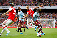 Pierre-Emerick Aubameyang of Arsenal plays a reverse pass during the Premier League match between Arsenal and Aston Villa at the Emirates Stadium, London, England on 22 September 2019. Photo by Carlton Myrie / PRiME Media Images.