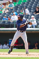 Brandon Boggs (58) of the Gwinnett Braves at bat against the Charlotte Knights at Knights Stadium on July 28, 2013 in Fort Mill, South Carolina.  The Knights defeated the Braves 6-1.  (Brian Westerholt/Four Seam Images)