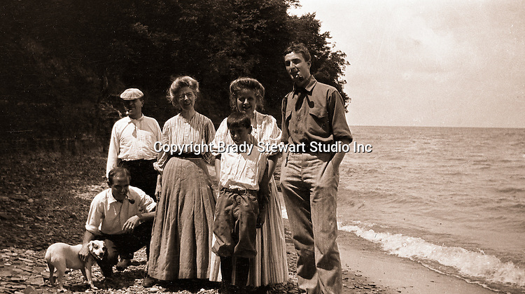 North East PA: Stewart Family Photograph, Peppy, Brady, Homer Sr, Alice Brady, Helen, Homer Jr and Clark Stewart, by Margaret Gray - 1904.  During the early 1900s, the Stewart family vacationed on Lake Erie near North East Pennsylvania. Since hotels and motels were non-existent, camping was the only viable option for a large number of vacationers.
