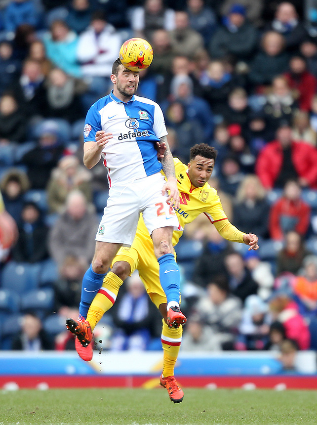 Blackburn Rovers Shane Duffy jumps with Milton Keynes Dons Charlie Burns<br /> <br /> Photographer Mick Walker/CameraSport<br /> <br /> Football - The Football League Sky Bet Championship - Blackburn Rovers v Milton Keynes Dons - Saturday 27th February 2016 - Ewood Park - Blackburn<br /> <br /> &copy; CameraSport - 43 Linden Ave. Countesthorpe. Leicester. England. LE8 5PG - Tel: +44 (0) 116 277 4147 - admin@camerasport.com - www.camerasport.com