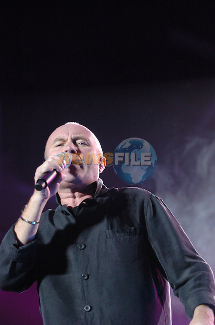 Phil Collins on stage in the Point Depot in Dublin....Photo NEWSFILE/Colin Bell.(Photo credit should read Colin Bell/NEWSFILE)....This Picture has been sent you under the condtions enclosed by:.Newsfile Ltd..The Studio,.Millmount Abbey,.Drogheda,.Co Meath..Ireland..Tel: +353(0)41-9871240.Fax: +353(0)41-9871260.GSM: +353(0)86-2500958.email: pictures@newsfile.ie.www.newsfile.ie.FTP: 193.120.102.198..