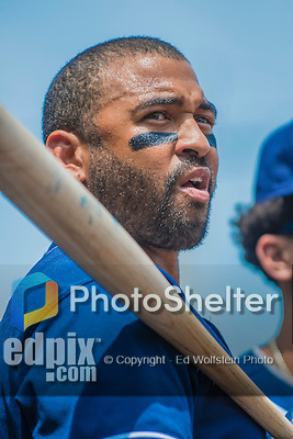 24 July 2016: San Diego Padres outfielder Matt Kemp stands in the dugout prior to a game against the Washington Nationals at Nationals Park in Washington, DC. The Padres defeated the Nationals 10-6 to take the rubber match of their 3-game, weekend series. Mandatory Credit: Ed Wolfstein Photo *** RAW (NEF) Image File Available ***
