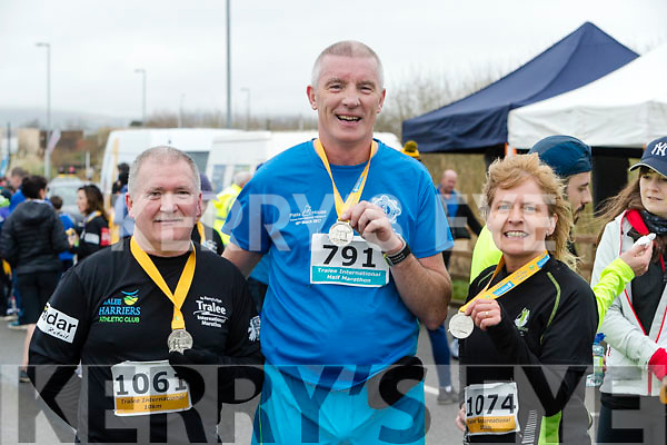 Jack Moriarty, Jim O'Connor and Eileen O'Connell, Tralee, who took part in the Kerry's Eye Tralee International Marathon on Saturday last.