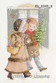 Interlitho, CHRISTMAS SANTA, SNOWMAN, nostalgic, paintings, 2 kids, snow, tree(KL2340/2,#X#) Weihnachten, nostalgisch, Navidad, nostálgico, illustrations, pinturas