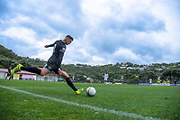 Henry Cameron (Team Wellington) takes a free kick during the 2019 OFC Champions League quarter final football match between Team Wellington and Henderson Eels at David Farrington Park in Wellington on Sunday, 7 April 2019. Photo: Dave Lintott / lintottphoto.co.nz