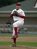 August 20, 2004:  Pitcher Nathan (Nate) Johnson of the Batavia Muckdogs, Short-Season Single-A affiliate of the Philadelphia Phillies, during a game at Dwyer Stadium in Batavia, NY.  Photo by:  Mike Janes/Four Seam Images