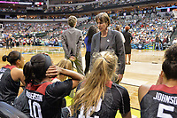 Dallas, TX - Friday March 31, 2017: Tara Vanderveer prior to the NCAA National Semifinal Game between the women's basketball teams of Stanford and South Carolina at the American Airlines Center.