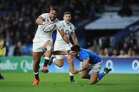 Joe Cokanasiga of England hands off Tommaso Allan of Italy as he sniffs the lineduring the Guinness Six Nations match between England and Italy at Twickenham Stadium on Saturday 9th March 2019 (Photo by Rob Munro/Stewart Communications)