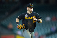 Missouri Tigers right fielder Blake Jackson (12) jogs off the field between innings of the game against the Texas Longhorns in game eight of the 2020 Shriners Hospitals for Children College Classic at Minute Maid Park on March 1, 2020 in Houston, Texas. The Tigers defeated the Longhorns 9-8. (Brian Westerholt/Four Seam Images)