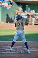 Luis Avalo (21) of the Rocky Mountain Vibes at bat against the Ogden Raptors at Lindquist Field on July 6, 2019 in Ogden, Utah. The Vibes defeated the Raptors 7-2. (Stephen Smith/Four Seam Images)