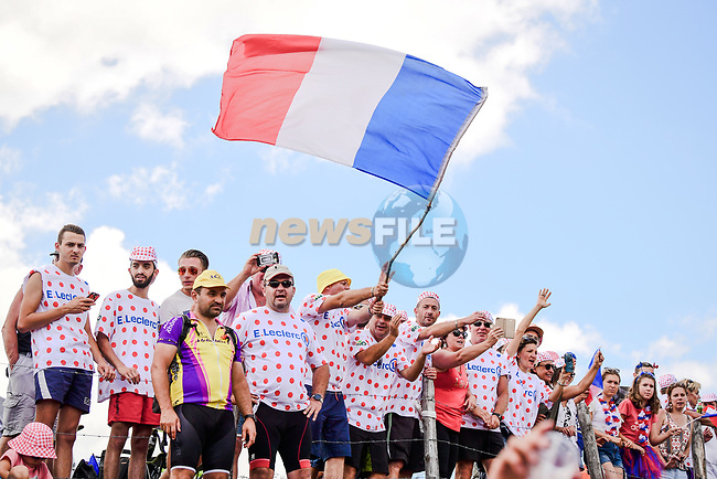 Huge crowds greet the peloton on this Bastille Day during Stage 9 of the 2019 Tour de France running 170.5km from Saint-Etienne to Brioude, France. 14th July 2019.<br /> Picture: ASO/Pauline Ballet | Cyclefile<br /> All photos usage must carry mandatory copyright credit (© Cyclefile | ASO/Pauline Ballet)