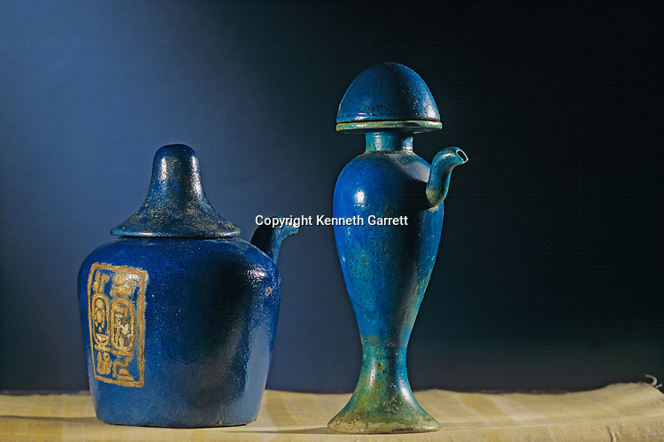 Faience ritual vessels, Nemset vase, Heset vase, Tutankhamun and the Golden Age of the Pharaohs, Page 255