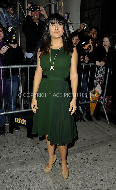 WWW.ACEPIXS.COM....October 11 2012, New York City....Actress Salma Hayek visited a TV show on October 11 2012 in New York City....By Line: Curtis Means/ACE Pictures......ACE Pictures, Inc...tel: 646 769 0430..Email: info@acepixs.com..www.acepixs.com