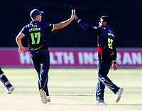 Imran Qayyum is congratulated after taking the wicket of Michael Clinger by Marcus Stoinis during the Vitality Blast T20 game between Kent Spitfires and Gloucestershire at the St Lawrence Ground, Canterbury, on Sun Aug 5, 2018