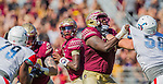 Florida State quarterback James Blackman sets up to pass against Delaware State in the first half of an NCAA football game in Tallahassee, Fl.  Florida State defeated Delaware State 77-6.