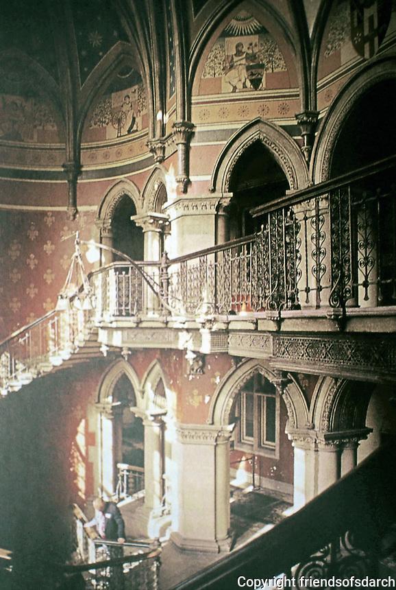 St. Pancras Station, Midland Grand Hotel, London. Grand staircase. George Gilbert Scott, 1873-76..