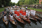 Swan Upping. The River Thames near Windsor Berkshire England 2007. Toasting the Queen at Romney Lock at the end of the first day of Upping.
