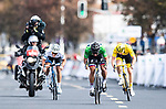 Peter Sagan (SVK) Bora-Hansgrohe outsprints Tour de France Champion Geraint Thomas (WAL) Team Sky and European Champion Matteo Trentin (ITA) Mitchelton-Scott to win the 2018 Shanghai Criterium, Shanghai, China. 17th November 2018.<br /> Picture: ASO/Alex Broadway | Cyclefile<br /> <br /> <br /> All photos usage must carry mandatory copyright credit (&copy; Cyclefile | ASO/Alex Broadway)