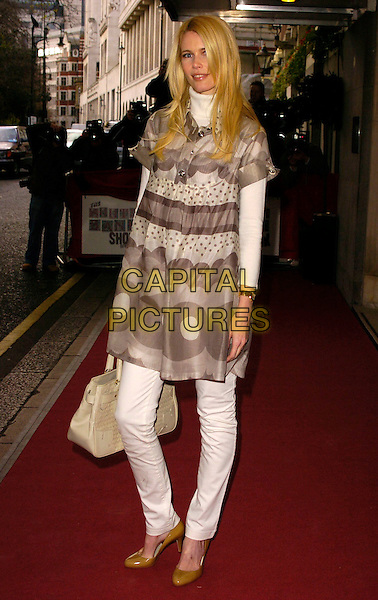 CLAUDIA SCHIFFER.The South Bank Show Awards, Savoy Hotel, London, UK..January 23rd, 2007.full length grey gray polka dot pattern print white dress cream bag purse.CAP/CAN.©Can Nguyen/Capital Pictures