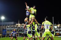 Josh Beaumont of Sale Sharks wins the ball at a lineout. Aviva Premiership match, between Bath Rugby and Sale Sharks on October 7, 2016 at the Recreation Ground in Bath, England. Photo by: Patrick Khachfe / Onside Images