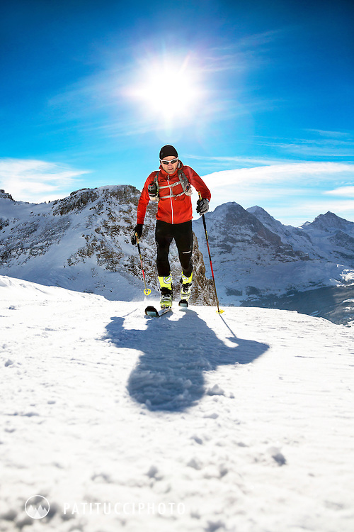 Swiss alpinist Ueli Steck uses ski mountaineering as training for his climbing fitness. Grindelwald, Switzerland