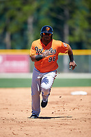Baltimore Orioles third baseman Juan Francisco (96) runs the bases during a minor league Spring Training game against the Boston Red Sox on March 16, 2017 at the Buck O'Neil Baseball Complex in Sarasota, Florida.  (Mike Janes/Four Seam Images)