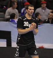 15.01.2013 Granollers, Spain. IHF men's world championship, prelimanary round. Picture show Stevan Vujovic     in action during game between Tunisia vs Montenegro at Palau d'esports de Granollers