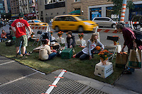 New York, NY 19 September 2008 - PARK(ing) Day is a one-day, global event that began in San Francisco where artists, activists, and citizens collaborate to temporarily transform metered parking spots into ?PARK(ing)? spaces: temporary public parks...Seventh Haven Park on Seventh Avenue near West 24th Street.