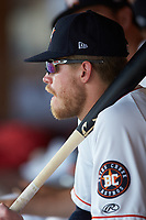 Seth Beer (35) of the Buies Creek Astros watches the action from the dugout during the game against the Winston-Salem Dash at Jim Perry Stadium on August 15, 2018 in Buies Creek, North Carolina.  The Astros defeated the Dash 5-0.  (Brian Westerholt/Four Seam Images)