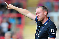 Steve Cooper Head Coach of Swansea City shouts instructions to his team from the dug-out during the pre season friendly match between Exeter City and Swansea City at St James Park in Exeter, England, UK. Saturday, 20 July 2019