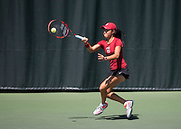 Stanford CA - April 5, 2014.  Stanford Women's Tennis vs USC at the Taube Family Tennis Stadium.