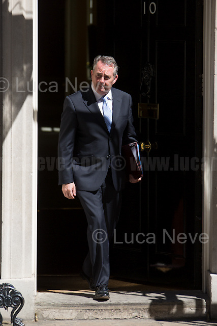 Liam Fox MP (Secretary of State for International Trade and President of the Board of Trade).<br /> <br /> London, 19/07/2016. First Cabinet meeting at 10 Downing Street (after the EU Referendum and consequent David Cameron's resignation) for the new Prime Minister Theresa May and her newly formed Conservative Government.<br /> <br /> For more information about the Cabinet Ministers: https://www.gov.uk/government/ministers