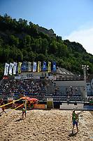 VADUZ, LIECHTENSTEIN, 11.08.2019- FIVB BEACH VOLLEYBALL WORLD TOUR:  Vista geral do campo central no torneio FIVB Beach Volleyball World Tour Star1 na Beacharena, em Vaduz, Liechtenstein, nesse domingo 11. (Foto: Bruno de Carvalho / Brazil Photo Press)