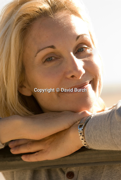 Pretty blond woman smiling