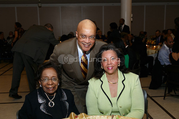 NEW YORK, NY - APRIL 3: Marcella Maxwell, PhD, Carl Turnipseed, Joyce Turnipseed pictured as David N. Dinkins, 106th Mayor of the City of New York, receives the Dr. Phyllis Harrison-Ross Public Service Award for a lifetime of public service at the New York Society of Ethical Culture in New York City on April 3, 2014. Credit: Margot Jordan/MediaPunch