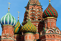 Decorative domes of St Basil's Cathedral, Red Square, Moscow, Russia