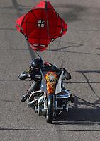 Feb 25, 2017; Chandler, AZ, USA; NHRA top fuel nitro Harley Davidson rider Mike Pelrine during qualifying for the Arizona Nationals at Wild Horse Pass Motorsports Park. Mandatory Credit: Mark J. Rebilas-USA TODAY Sports