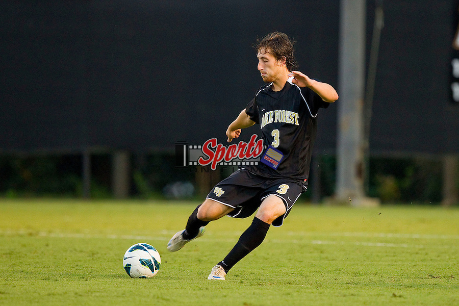 Anthony Arena (3) of the Wake Forest Demon Deacons passes the ball during first half action against the Duke Blue Devils at Spry Soccer Stadium on September 21, 2012 in Winston-Salem, North Carolina.  The Demon Deacons and the Blue Devils battled to a 0-0 tie in 2 overtimes.  (Brian Westerholt/Sports On Film)