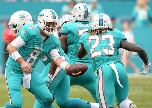 01.01.2017. Miami Gardens, Florida, USA.   Miami Dolphins quarterback Matt Moore (8) handoff to running back Jay Ajayi (23) during the first half in a game between the Miami Dolphins and the New England Patriots on January 01, 2017, at Hard Rock Stadium in Miami Gardens, FL.