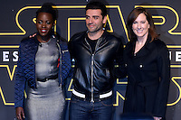 "Lupita Nyong'o Actress, Actor Oscar Isaac, and producer Kathleen Kennedy parade red carpet event to promote the Fan ""Star Wars: The Force wakes"" at Antara Fashion Mall in Mexico City, Tuesday, December 8, 2015. Photo: ©Francisco Morales/DAMMPHOTO/NortePhoto"