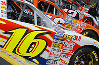 May 4, 2007; Richmond, VA, USA; The car of Nascar Busch Series driver Greg Biffle (16) is lined up on pit road during qualifying for the Circuit City 250 at Richmond International Raceway. Mandatory Credit: Mark J. Rebilas