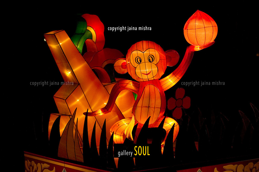 "A silk lantern of the ""Monkey"" representing a figure in the Chinese Zodiac on display at the Mid Autumn Lantern festival in Singapore"